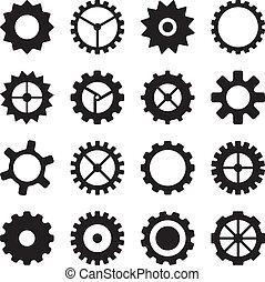 Un conjunto de ruedas densas, piniones y engranajes