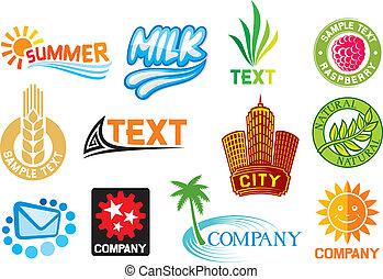 Un conjunto de símbolos corporativos