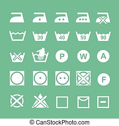 Un conjunto de símbolos de lavado, símbolos de instrucciones de lavado, blanco