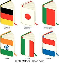 Un conjunto de seis libros con bandera para fines de traducción.