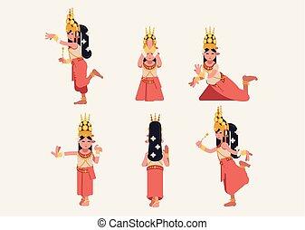 Un conjunto de seis tradicionales khmer apsara postura de baile - diseño plano