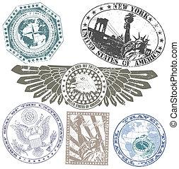 Un conjunto de sellos americanos