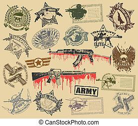 Un conjunto de sellos de símbolos militares