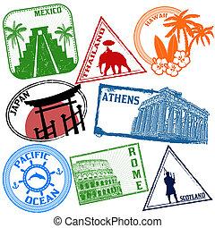 Un conjunto de sellos de viaje