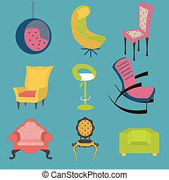 Un conjunto de sillas coloridas de detalle interior.