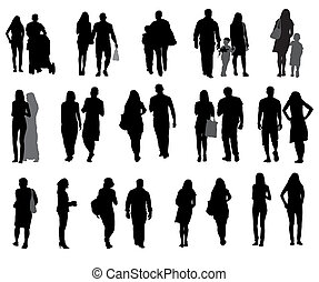 Un conjunto de siluetas caminando personas y niños. Ilustración de vectores.