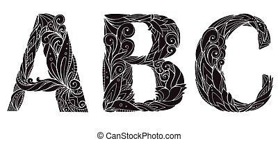 Un conjunto de siluetas de mano libre dibujando letras mayúsculas con patrones florales de garabatos. Abc. Elemento vectorial para tu diseño