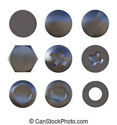 Un conjunto de tornillos de astilla de metal y vector de perno