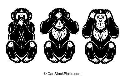 Un conjunto de tres monos - escuchar no, ver no, no decir