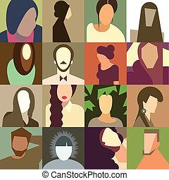 Un conjunto de varias caras de avatar