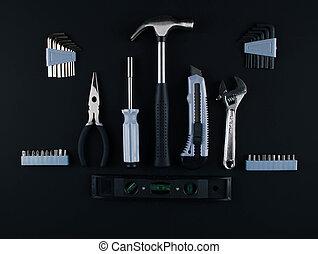 Un conjunto de varias herramientas de fondo blanco.
