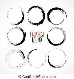 Un conjunto de vectores grunge círculo pinceladas
