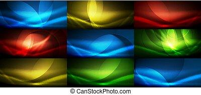 Un conjunto de vectores neón fluyendo ondas abstractas