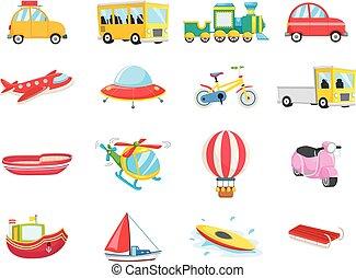 Un conjunto de vehículos de transporte