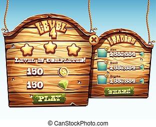 Un conjunto de ventanas de madera, el nivel de paso de finalización para la interfaz de usuario en un juego de ordenador