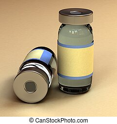 Un contenedor de botellas de medicina