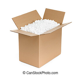 Un contenedor de cartón abierto