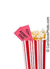 Un contenedor de palomitas con boleto de cine