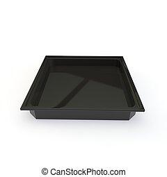 Un contenedor de plástico negro para rollos japoneses y otros productos. Trasfondo blanco aislado