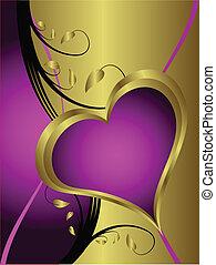 Un corazón púrpura de San Valentín