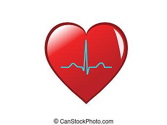 Un corazón rojo con un sano ritmo sinusal representando un corazón sano. Aislado en blanco