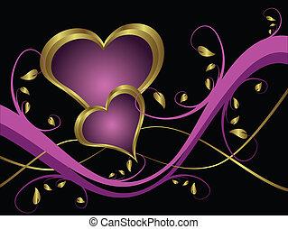 Un corazón violetas en el fondo del día