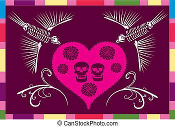 Un cráneo mexicano en un corazón