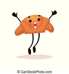 Un croissant mono con cara graciosa saltando con brazos levantados, caricatura humanizada de caricatura vector de personaje de postres ilustración en un fondo blanco