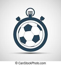 Un cronómetro deportivo con una pelota de fútbol