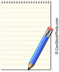 Un cuaderno con lápiz