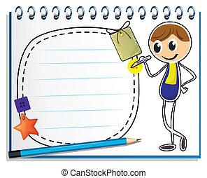 Un cuaderno con la imagen de un niño escribiendo