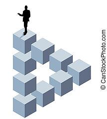 Un cubo tridimensional