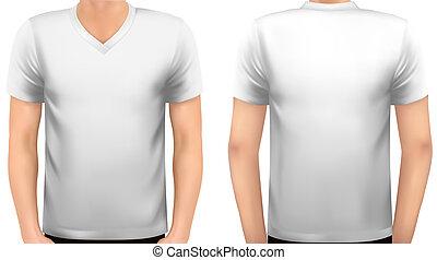 Un cuerpo masculino con una camisa blanca. Vector.