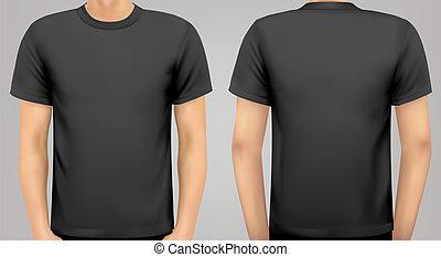 Un cuerpo masculino con una camisa negra. Vector.