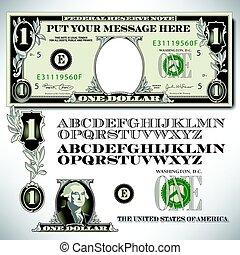Un dólar con un alfabeto