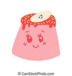 Un delicioso y delicioso personaje de dibujos animados de pudín rosado, adorable postre de kawaii con ilustración graciosa de vectores faciales