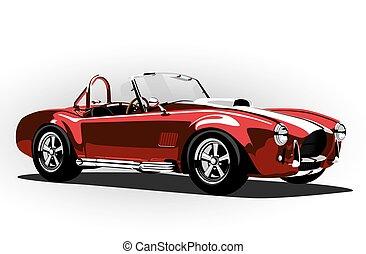 Un deportivo deportivo deportivo rojo cobra roadster