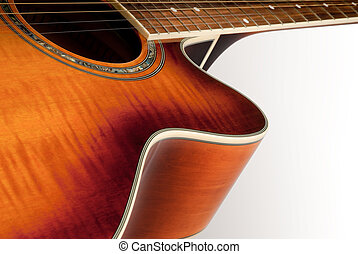 Un detalle de guitarra acústica