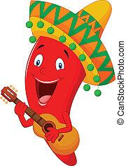 Un dibujo animado de chile rojo