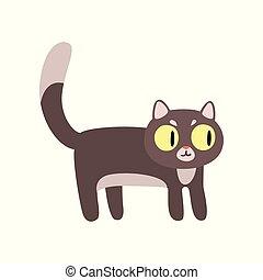 Un dibujo animado de un gato gris vector de personaje de ilustración en un fondo blanco
