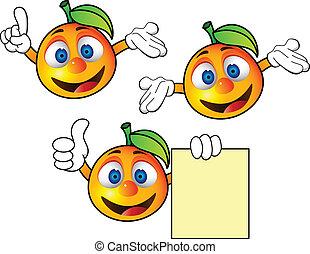 Un dibujo animado naranja