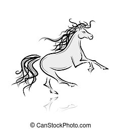 Un dibujo de caballo para tu diseño. Simbolo del año 2014