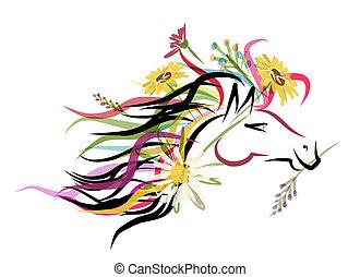 Un dibujo de la cabeza de caballo con adornos florales para tu diseño. Simbolo del año 2014