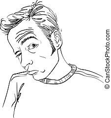 Un dibujo de un borracho o un jugador con arrugas en la frente. Un retrato blanco y negro de un tipo difícil.
