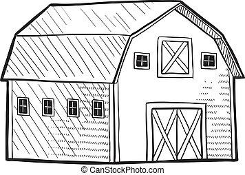 Un dibujo de un granero holandés