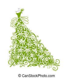 Un dibujo de un vestido verde floral para tu diseño