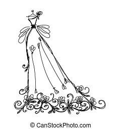 Un dibujo de vestido de novia con adornos florales para tu diseño
