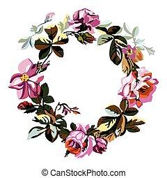 Un dibujo dibujado a mano floral de corona con rosas