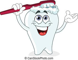 Un diente de cepillado