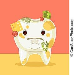 Un diente sucio con comida. Ilustración plana de dibujos animados